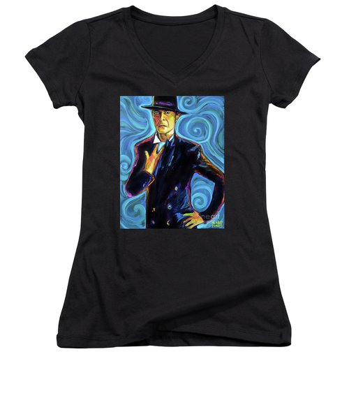 Women's V-Neck T-Shirt (Junior Cut) featuring the painting David Bowie by Robert Phelps