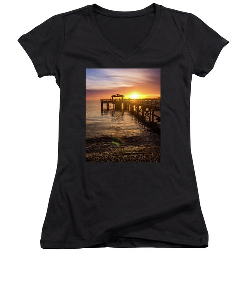 Davis Bay Pier Sunset 4 Women's V-Neck T-Shirt