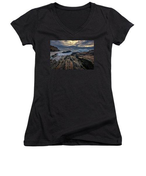 Women's V-Neck T-Shirt (Junior Cut) featuring the photograph Dawn At Bald Head Cliff by Rick Berk
