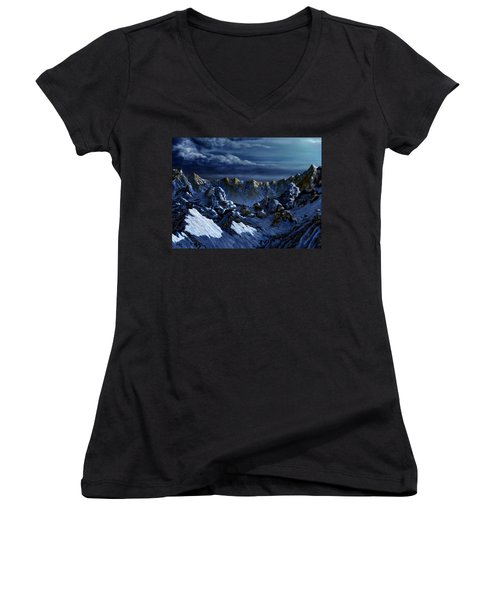 Women's V-Neck T-Shirt (Junior Cut) featuring the digital art Dawn At Eagle's Peak by Curtiss Shaffer
