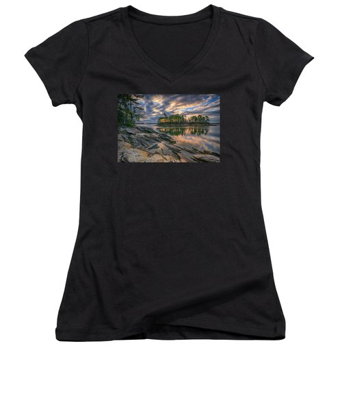 Women's V-Neck T-Shirt (Junior Cut) featuring the photograph Dawn At Wolfe's Neck Woods by Rick Berk