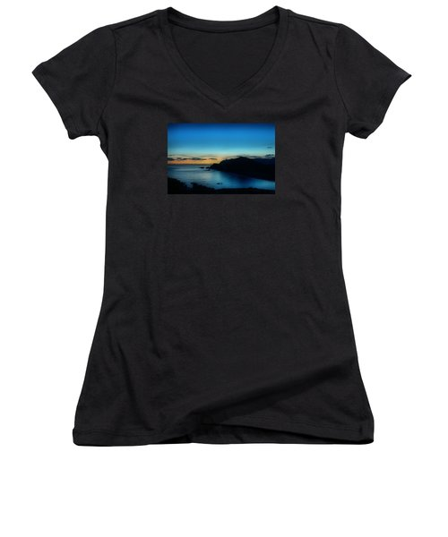 Dawn Blue In Mediterranean Island Of Minorca By Pedro Cardona Women's V-Neck T-Shirt (Junior Cut) by Pedro Cardona