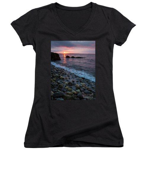 Women's V-Neck T-Shirt (Junior Cut) featuring the photograph Dawn, Camden, Maine  -18868-18869 by John Bald