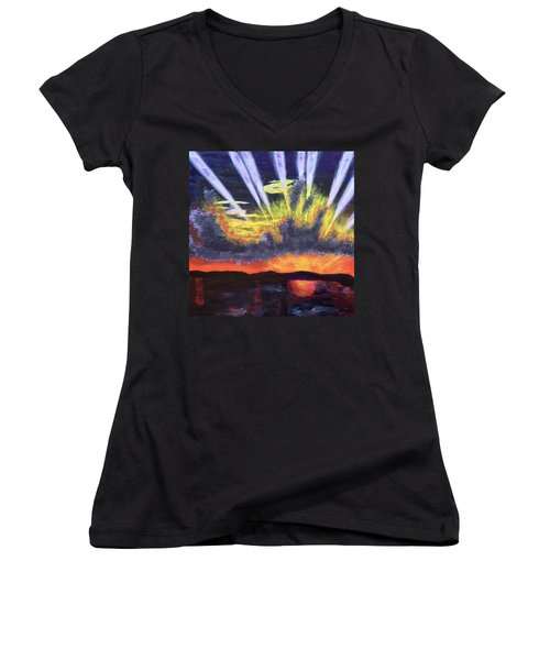 Dawn Women's V-Neck T-Shirt (Junior Cut) by Donald J Ryker III