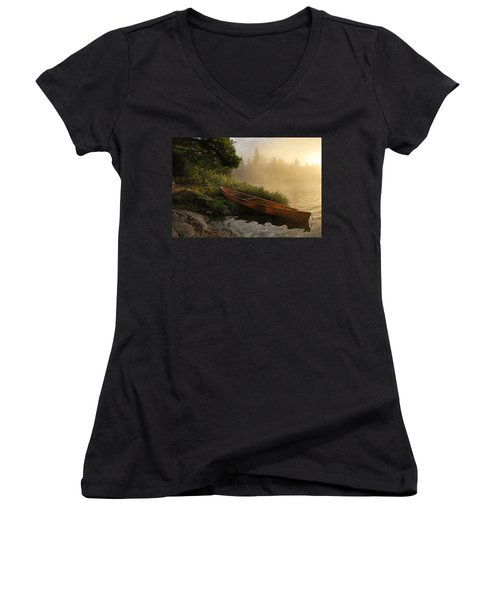 Dawn On Boot Lake Women's V-Neck T-Shirt (Junior Cut) by Larry Ricker