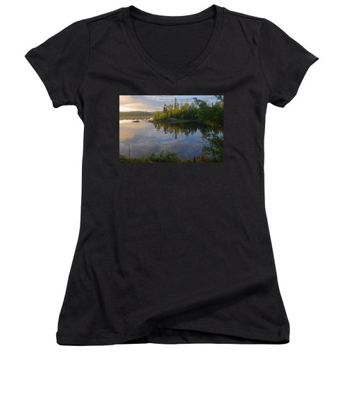 Dawn On The Basswood River Women's V-Neck (Athletic Fit)