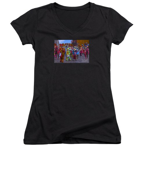 Women's V-Neck T-Shirt (Junior Cut) featuring the photograph Day Of The Crazies 2013 by John  Kolenberg