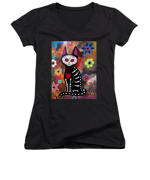 Day Of The Dead Cat El Gato Women's V-Neck