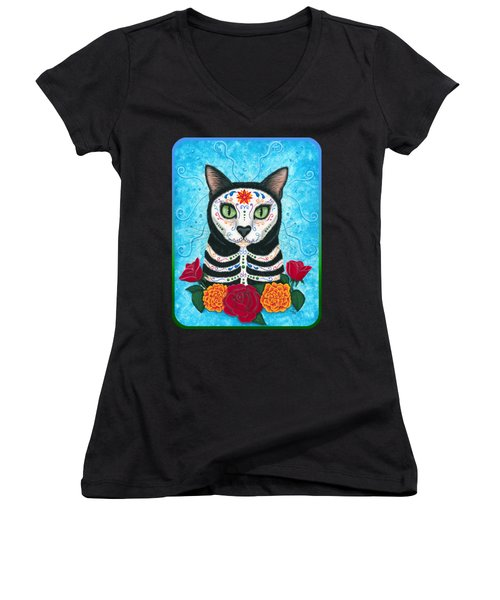 Day Of The Dead Cat - Sugar Skull Cat Women's V-Neck T-Shirt (Junior Cut) by Carrie Hawks