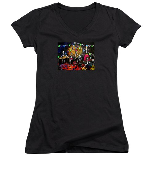 Women's V-Neck T-Shirt (Junior Cut) featuring the painting Day Of The Dead Festival by Pristine Cartera Turkus