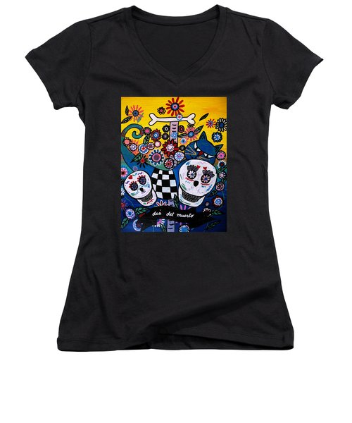Women's V-Neck T-Shirt (Junior Cut) featuring the painting Day Of The Dead by Pristine Cartera Turkus
