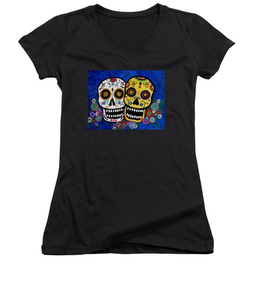 Women's V-Neck T-Shirt (Junior Cut) featuring the painting Day Of The Dead Sugar by Pristine Cartera Turkus