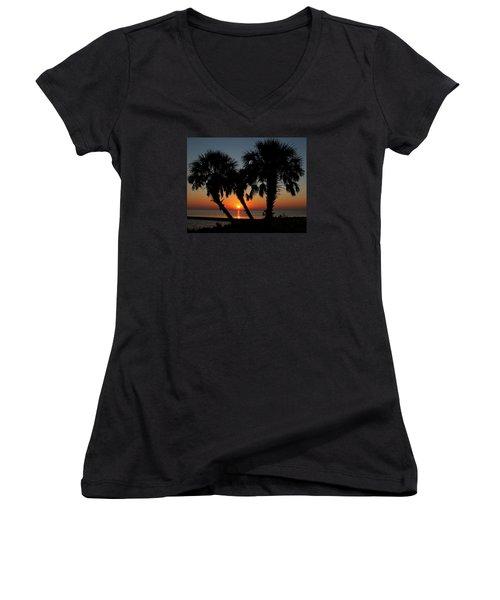 Women's V-Neck T-Shirt (Junior Cut) featuring the photograph Daybreak by Judy Vincent
