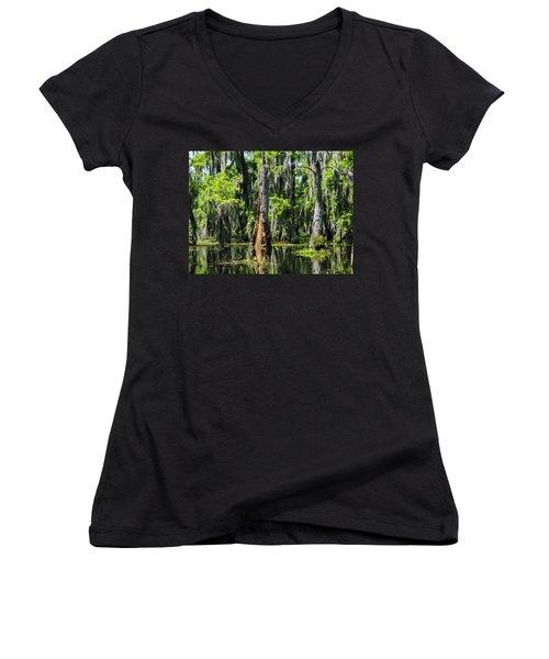 Daylight Swampmares Women's V-Neck T-Shirt (Junior Cut) by Kimo Fernandez