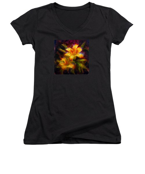 Women's V-Neck T-Shirt (Junior Cut) featuring the painting Daylily Sunshine - Colorful Tiger Lily/orange Day-lily Floral Still Life  by Karen Whitworth