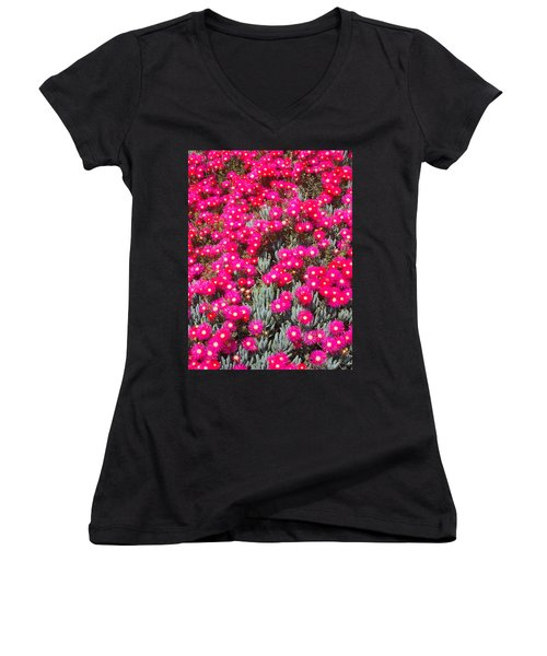 Dazzling Pink Flowers Women's V-Neck T-Shirt (Junior Cut) by Mark Barclay