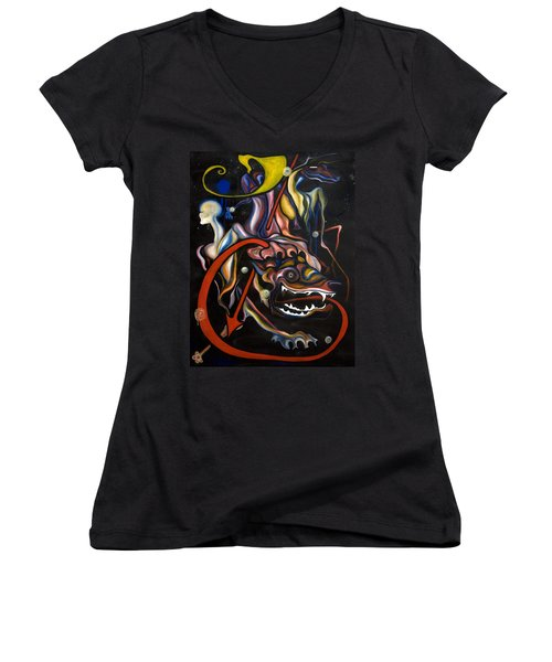 Dead Dog Women's V-Neck T-Shirt (Junior Cut) by Sheridan Furrer