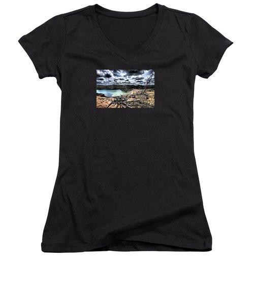 Dead Nature Under Stormy Light In Mediterranean Beach Women's V-Neck T-Shirt (Junior Cut) by Pedro Cardona