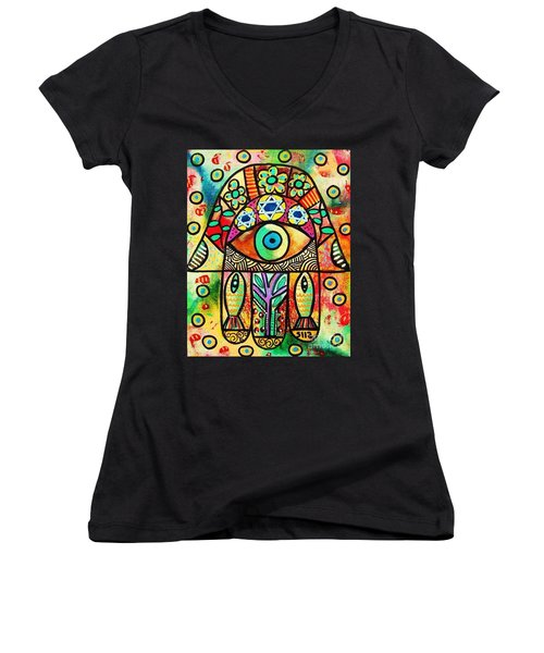 Dead Sea Fish Hamsa Women's V-Neck T-Shirt