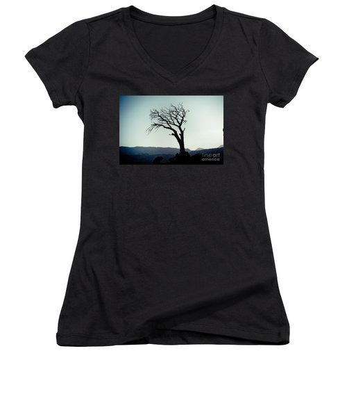 Dead Tree At The Sky Women's V-Neck