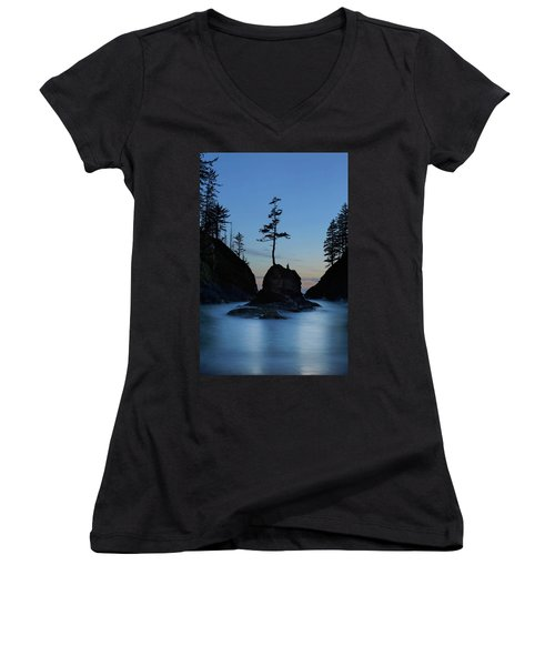 Deadman's Cove At Cape Disappointment At Twilight Women's V-Neck (Athletic Fit)