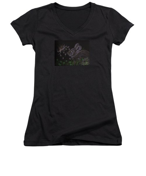 Dearest Bunny Eat The Clover And Let The Garden Be Women's V-Neck T-Shirt (Junior Cut) by Dawn Fairies