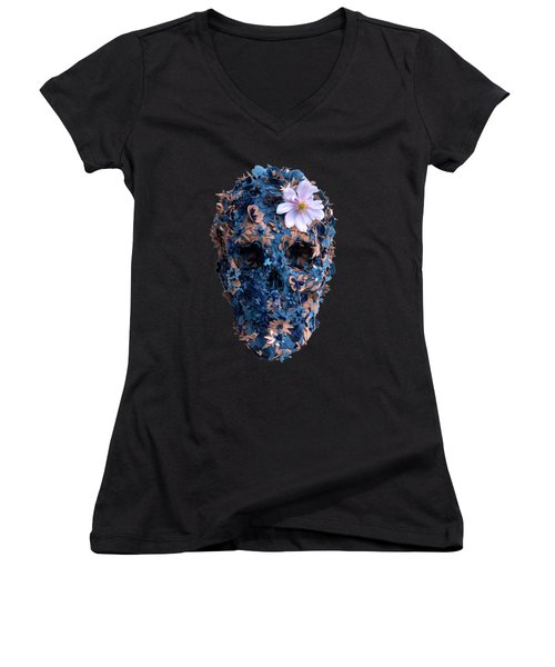 Skull 9 T-shirt Women's V-Neck T-Shirt (Junior Cut) by Herb Strobino