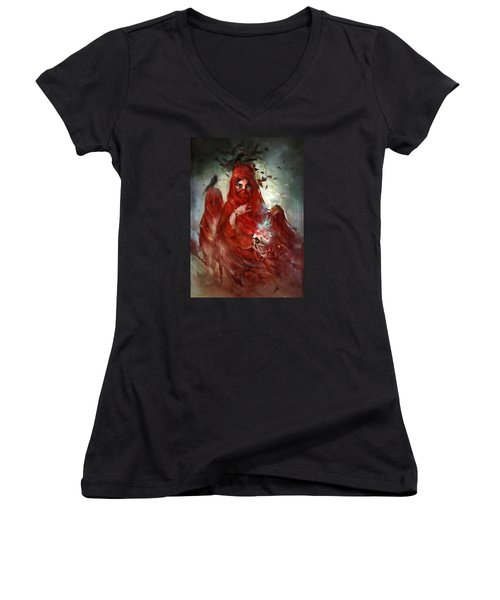 Women's V-Neck T-Shirt (Junior Cut) featuring the digital art Death by Te Hu