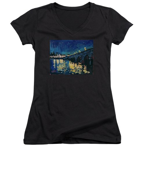 December Lights At The Old Bridge Women's V-Neck T-Shirt (Junior Cut)