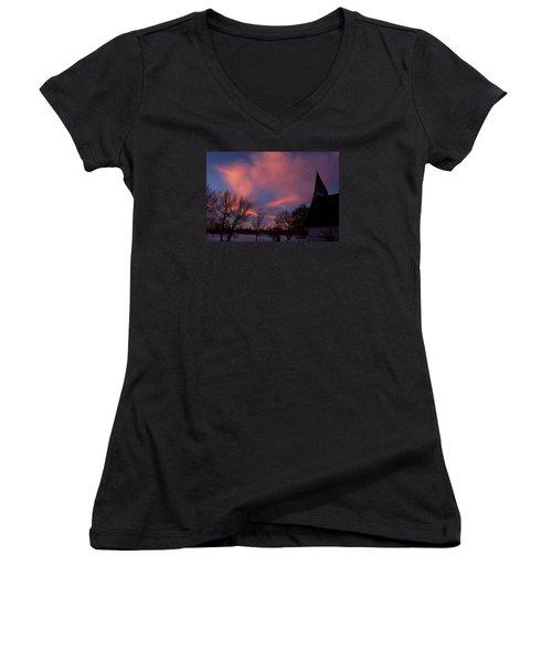 December Skies Women's V-Neck T-Shirt (Junior Cut) by Ellery Russell