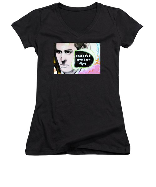 Women's V-Neck T-Shirt (Junior Cut) featuring the photograph Decisive Moment by Art Block Collections
