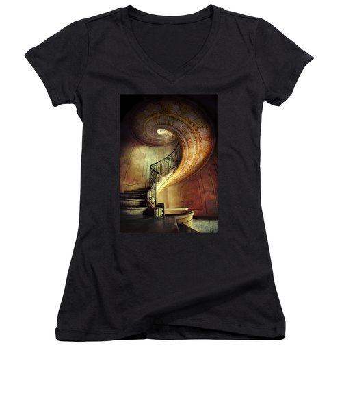 Decorated Spiral Staircase  Women's V-Neck (Athletic Fit)