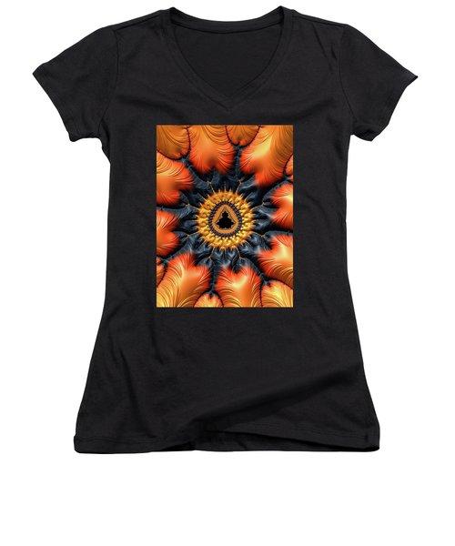 Women's V-Neck T-Shirt featuring the digital art Decorative Mandelbrot Set Warm Tones by Matthias Hauser