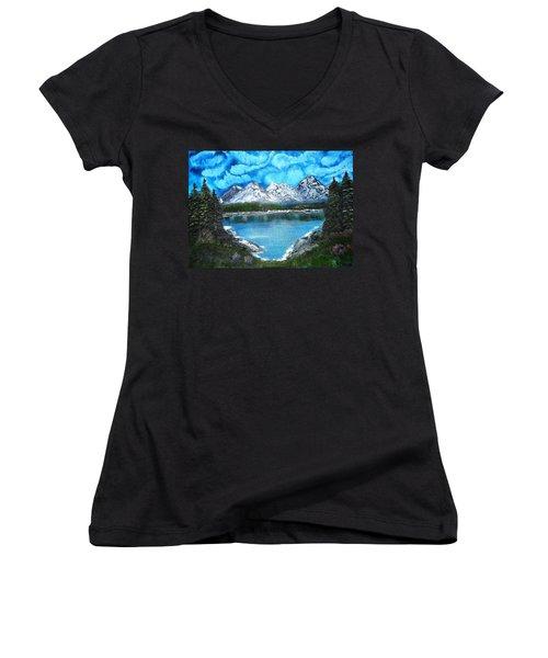 Deep Mountain Lake Women's V-Neck T-Shirt (Junior Cut) by Valerie Ornstein