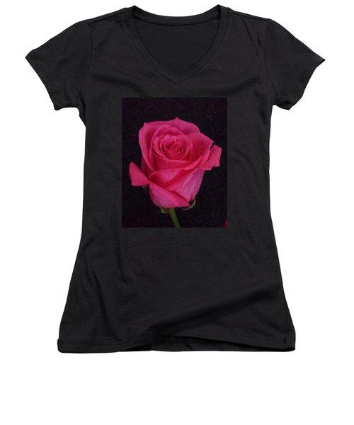 Deep Pink Rose On Black Women's V-Neck T-Shirt (Junior Cut) by Karen J Shine