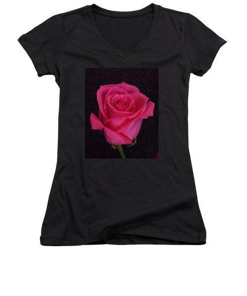 Deep Pink Rose On Black Women's V-Neck