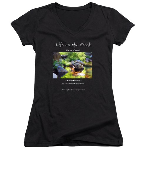 Deer Creek Ferns - White Text Women's V-Neck (Athletic Fit)