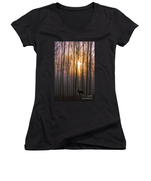 Deer In The Forest At Sunrise Women's V-Neck T-Shirt (Junior Cut) by Diane Diederich