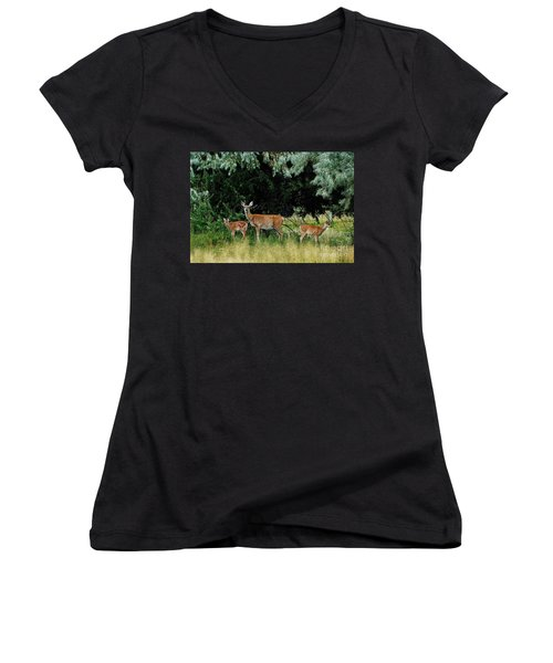 Deer Mom Women's V-Neck T-Shirt (Junior Cut) by Larry Campbell