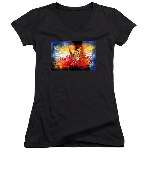 Women's V-Neck T-Shirt (Junior Cut) featuring the mixed media Delicate Beauty by Aaron Berg