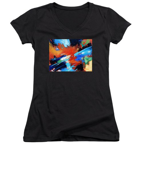 Women's V-Neck T-Shirt (Junior Cut) featuring the painting Demo by Gary Coleman