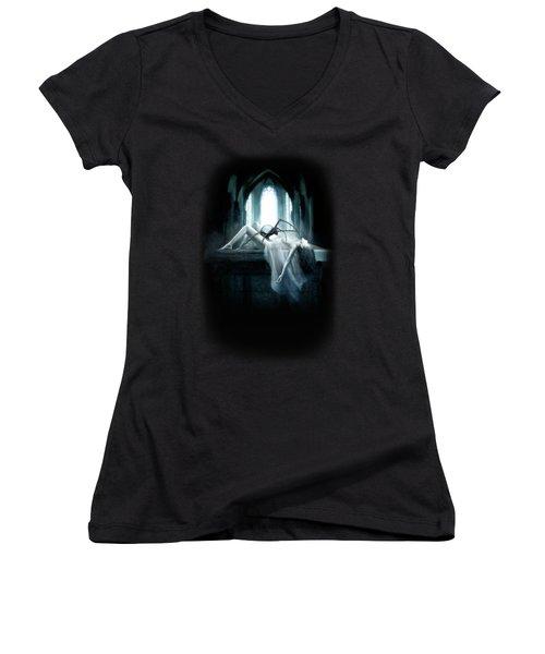 Demon Women's V-Neck T-Shirt (Junior Cut) by Joe Roberts