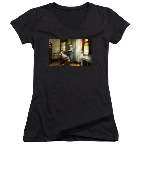 Women's V-Neck T-Shirt featuring the photograph Dentist - Patients Is A Virtue 1920 by Mike Savad