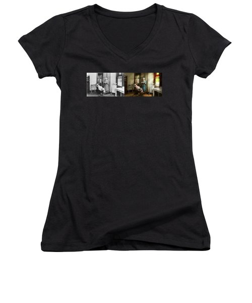 Women's V-Neck T-Shirt featuring the photograph Dentist - Patients Is A Virtue 1920 - Side By Side by Mike Savad