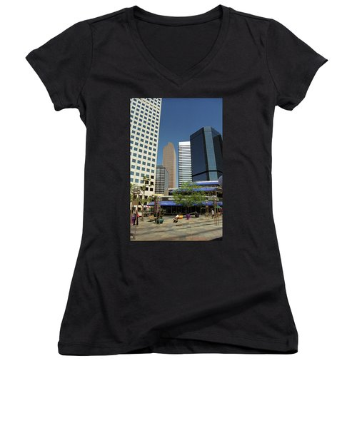 Women's V-Neck T-Shirt (Junior Cut) featuring the photograph Denver Architecture by Frank Romeo