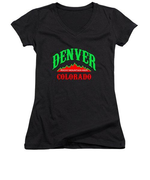 Denver Colorado - Rocky Mountain High Women's V-Neck T-Shirt (Junior Cut)