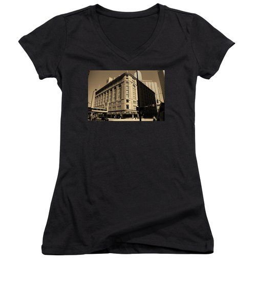 Women's V-Neck T-Shirt (Junior Cut) featuring the photograph Denver Downtown Sepia by Frank Romeo