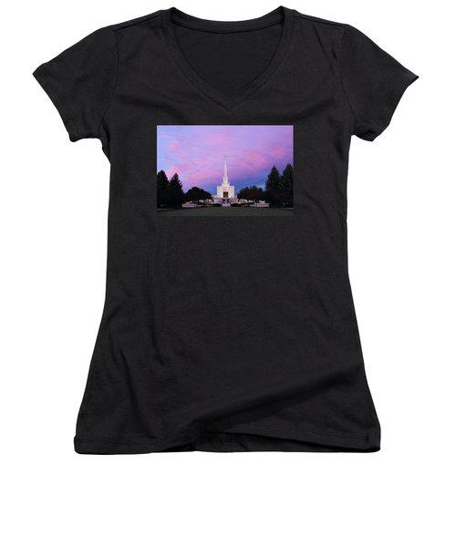 Denver Lds Temple At Sunrise Women's V-Neck