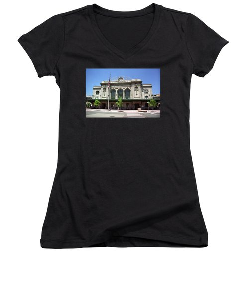 Women's V-Neck T-Shirt (Junior Cut) featuring the photograph Denver - Union Station Film by Frank Romeo