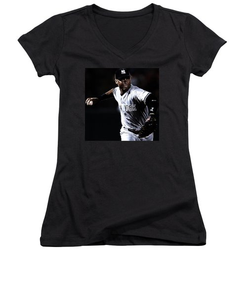 Derek Jeter Women's V-Neck T-Shirt (Junior Cut) by Paul Ward